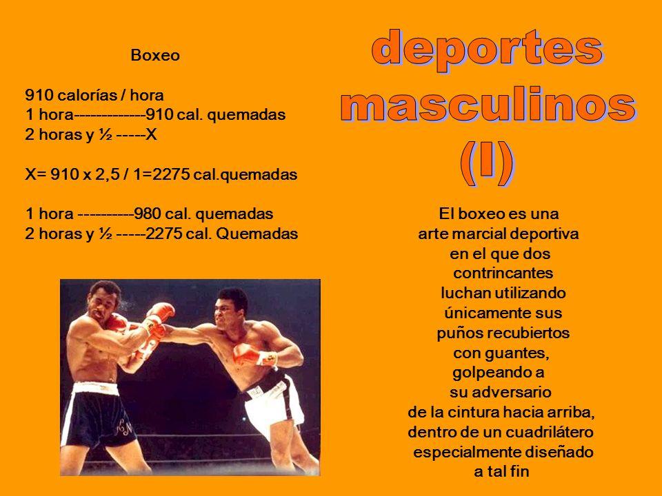 deportes masculinos (I) Boxeo 910 calorías / hora