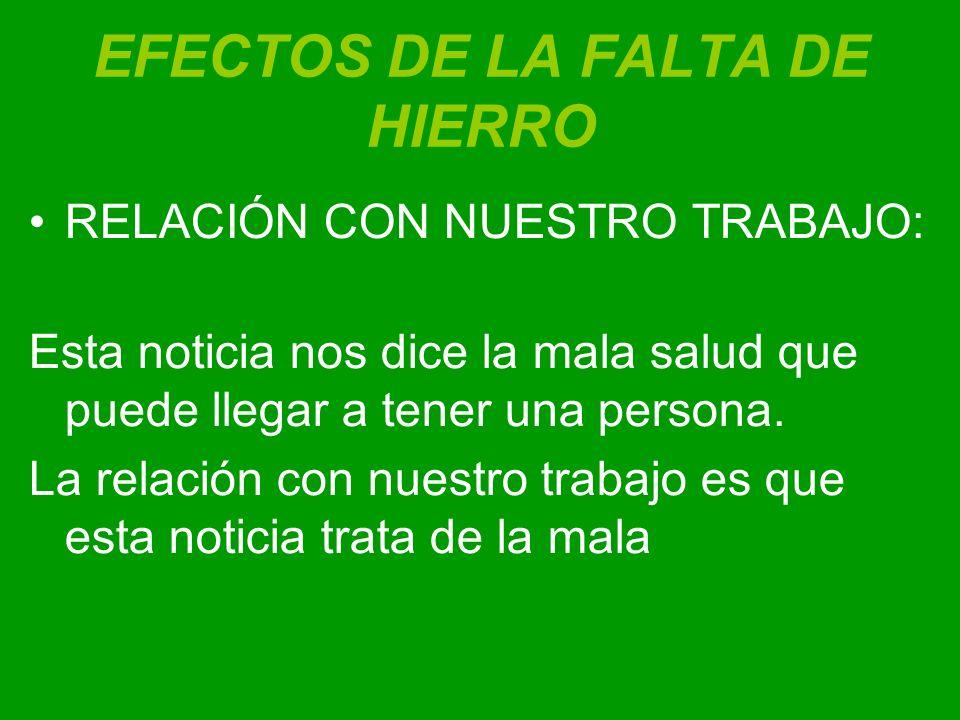 EFECTOS DE LA FALTA DE HIERRO