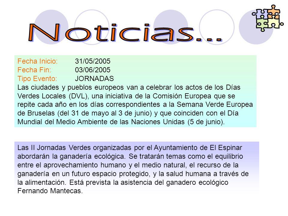 Noticias... Fecha Inicio: 31/05/2005 Fecha Fin: 03/06/2005 Tipo Evento: JORNADAS.
