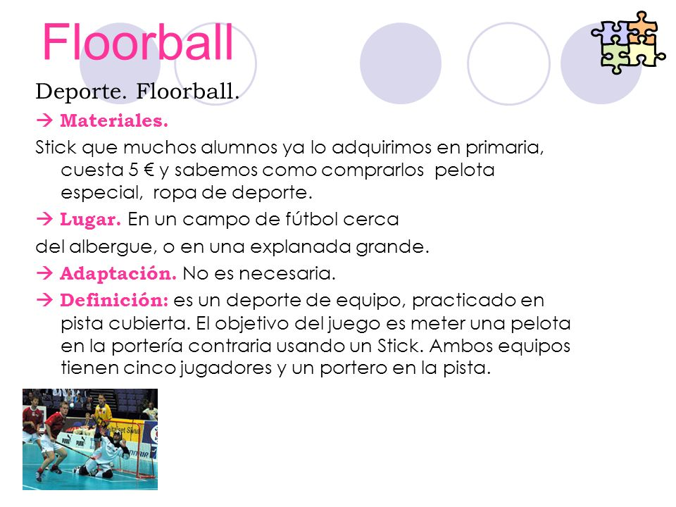 Floorball Deporte. Floorball.  Materiales.