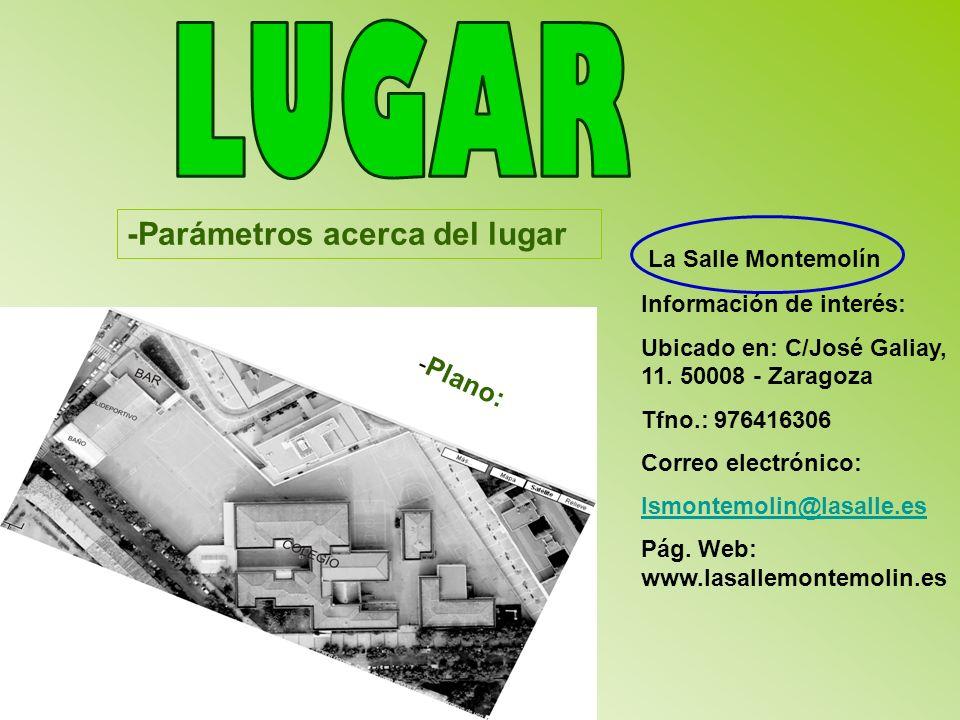 LUGAR -Parámetros acerca del lugar La Salle Montemolín