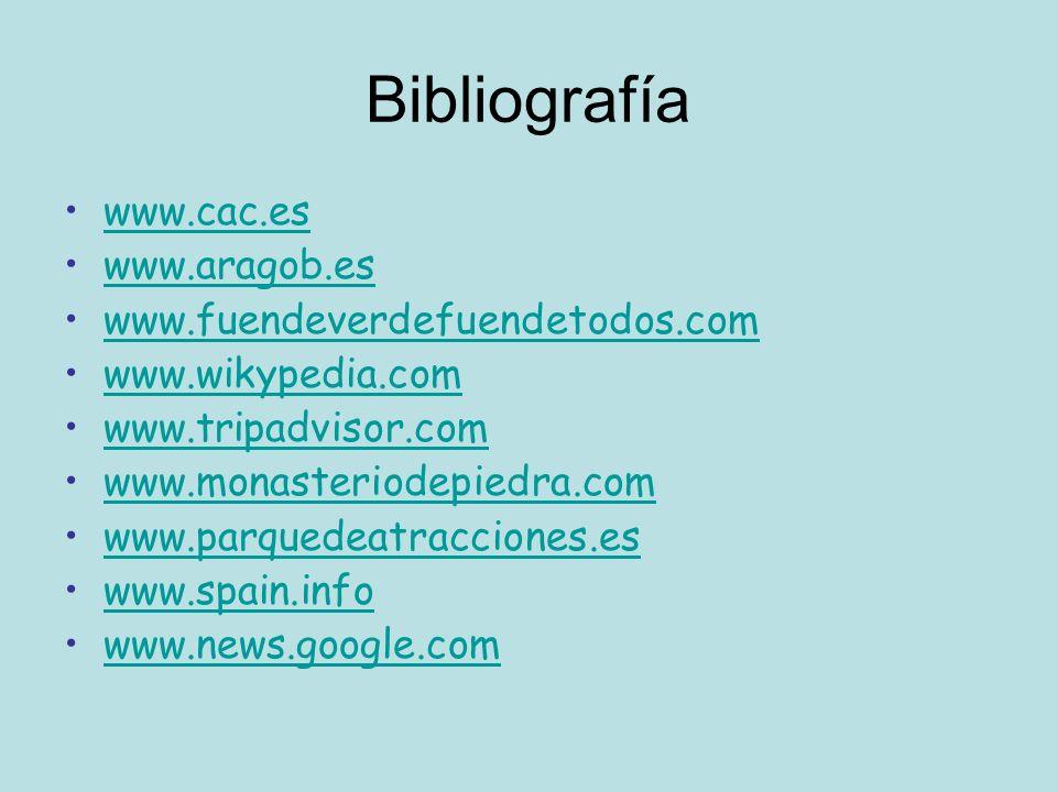 Bibliografía www.cac.es www.aragob.es www.fuendeverdefuendetodos.com