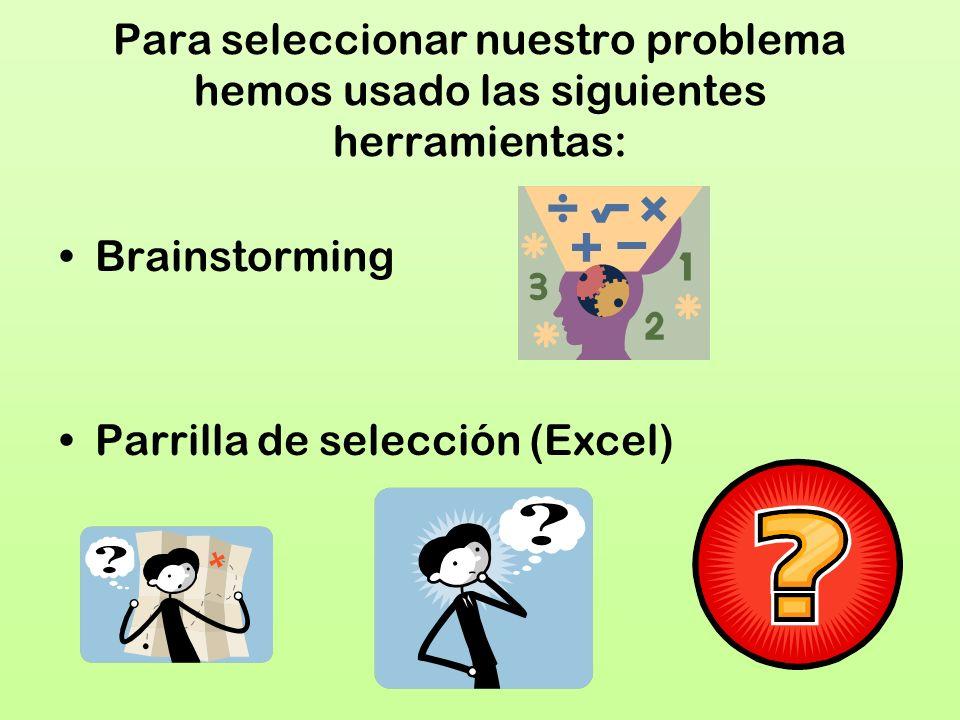 Para seleccionar nuestro problema hemos usado las siguientes herramientas: