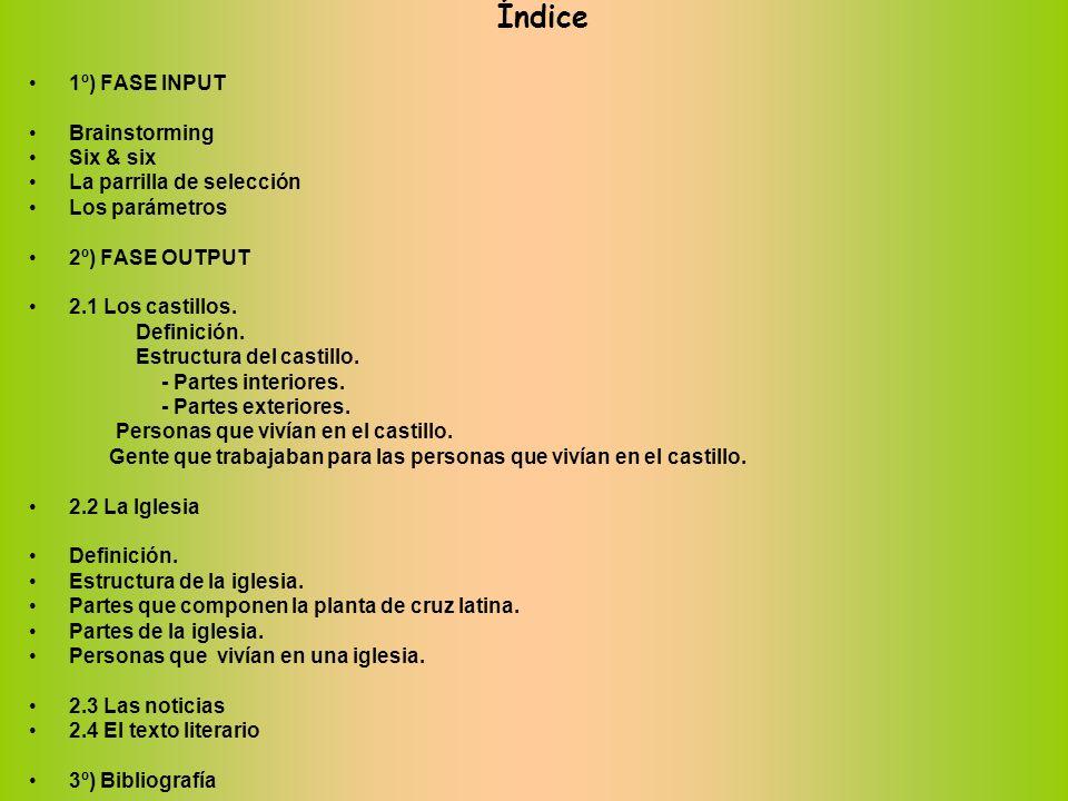 Índice 1º) FASE INPUT Brainstorming Six & six La parrilla de selección