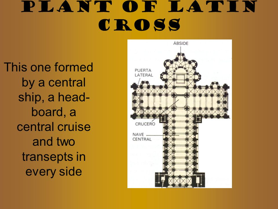 PLANT OF LATIN CROSS This one formed by a central ship, a head-board, a central cruise and two transepts in every side.