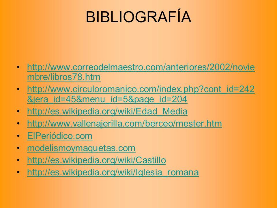 BIBLIOGRAFÍA http://www.correodelmaestro.com/anteriores/2002/noviembre/libros78.htm.