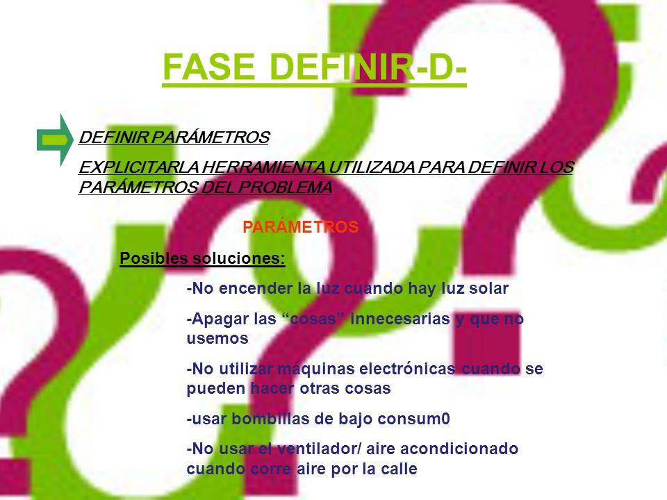 FASE DEFINIR-D- PARÁMETROS DEFINIR PARÁMETROS