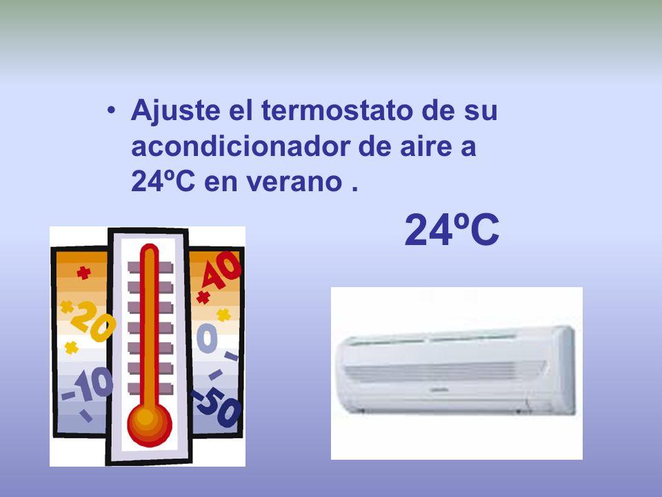 Ajuste el termostato de su acondicionador de aire a 24ºC en verano .