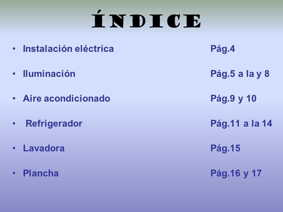 índice Instalación eléctrica Pág.4 Iluminación Pág.5 a la y 8