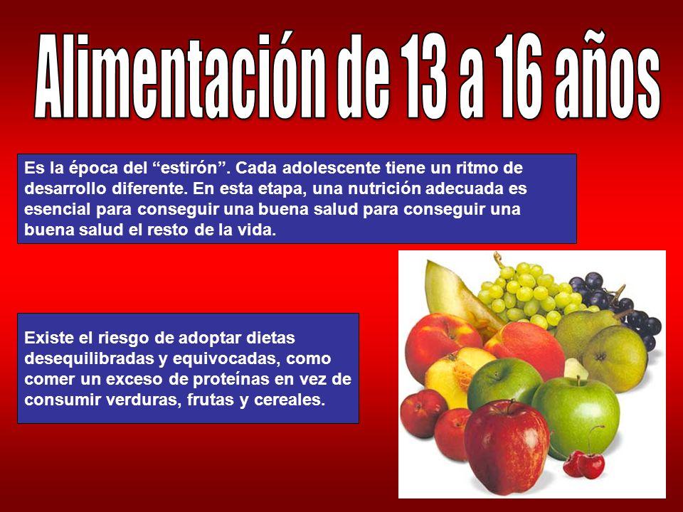 Alimentación de 13 a 16 años