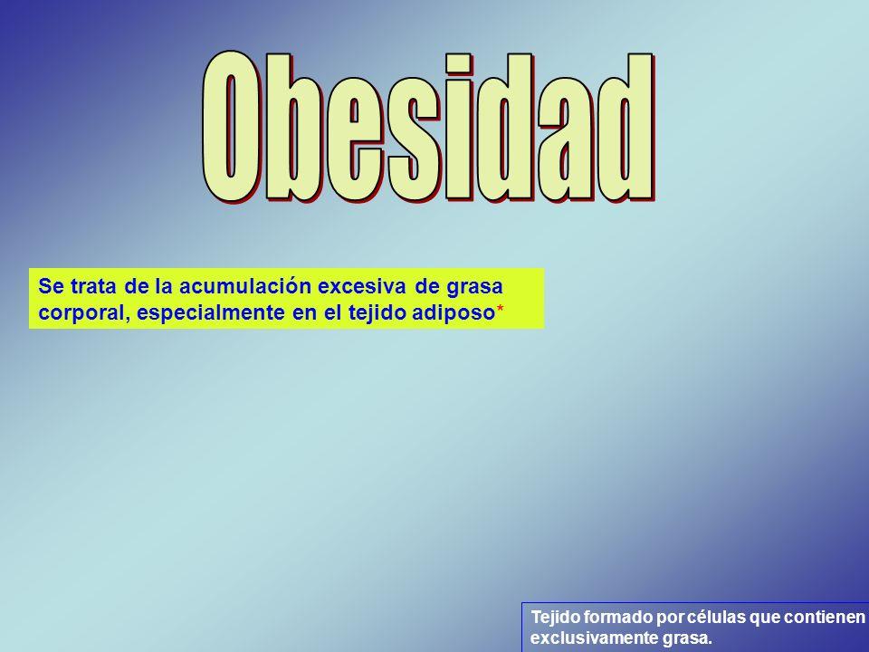 ObesidadSe trata de la acumulación excesiva de grasa corporal, especialmente en el tejido adiposo*