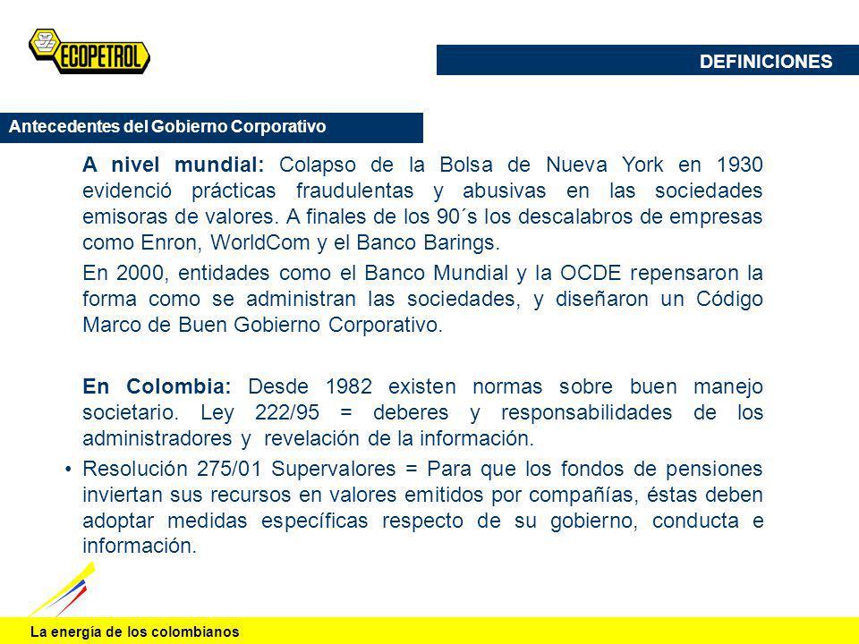 DEFINICIONES Antecedentes del Gobierno Corporativo.