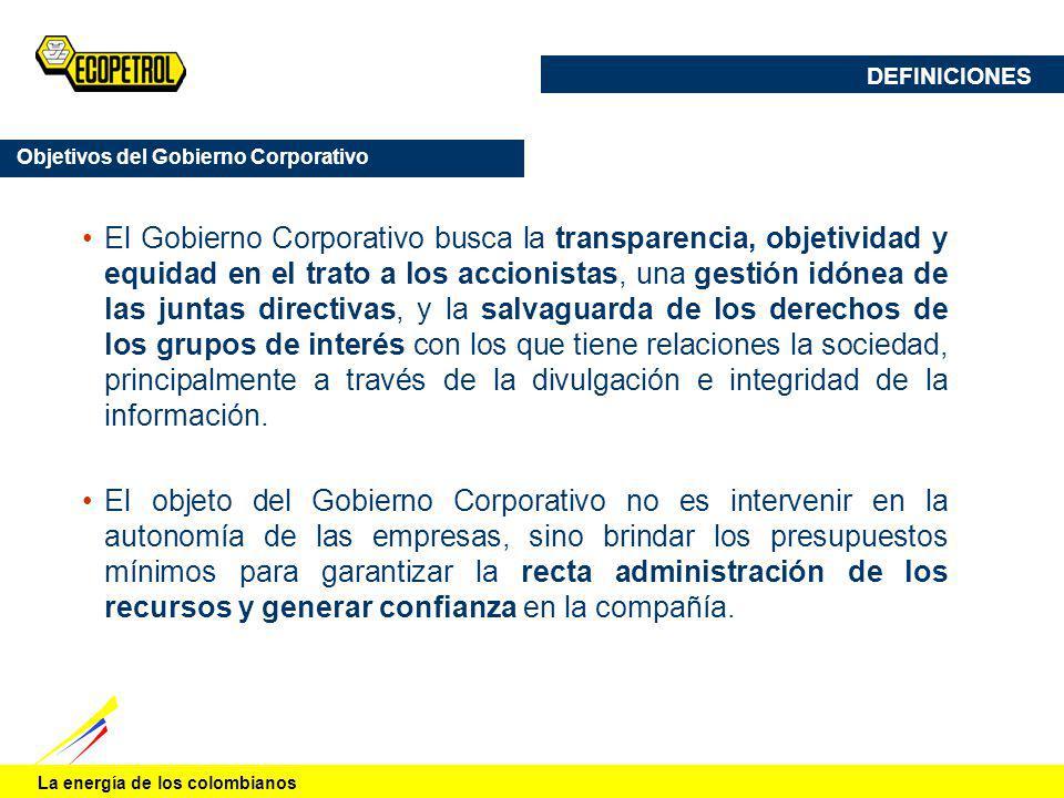 DEFINICIONES Objetivos del Gobierno Corporativo.