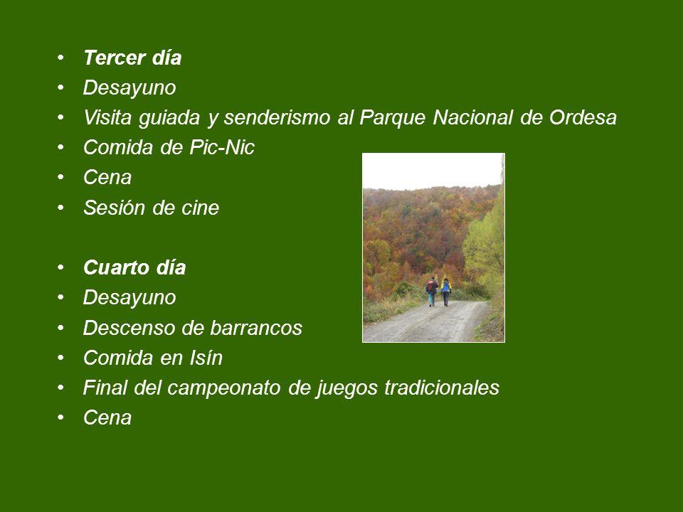 Tercer día Desayuno. Visita guiada y senderismo al Parque Nacional de Ordesa. Comida de Pic-Nic. Cena.