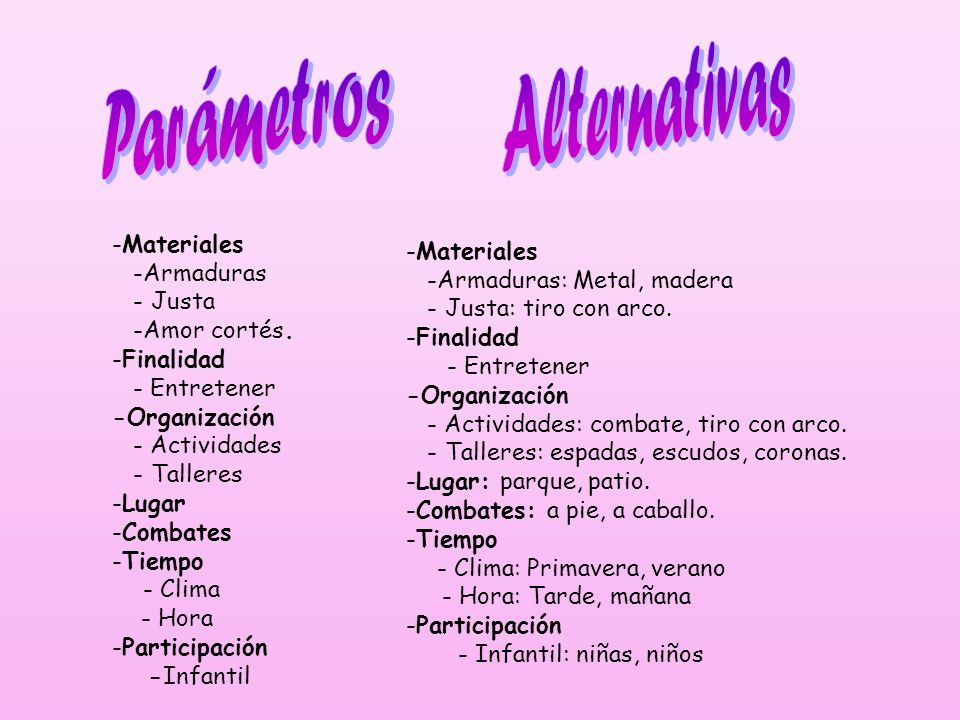 Alternativas Parámetros Materiales Materiales -Armaduras