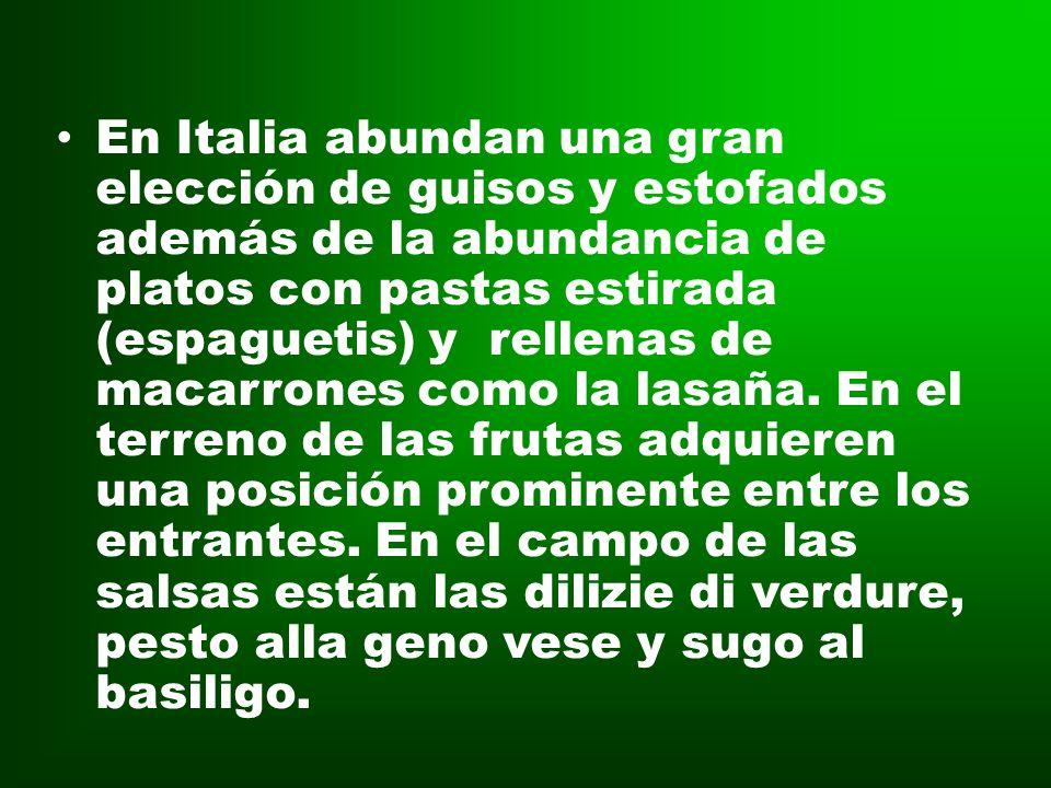 En Italia abundan una gran elección de guisos y estofados además de la abundancia de platos con pastas estirada (espaguetis) y rellenas de macarrones como la lasaña.