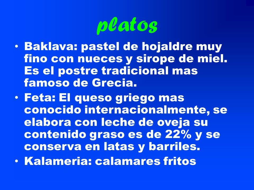 platosBaklava: pastel de hojaldre muy fino con nueces y sirope de miel. Es el postre tradicional mas famoso de Grecia.