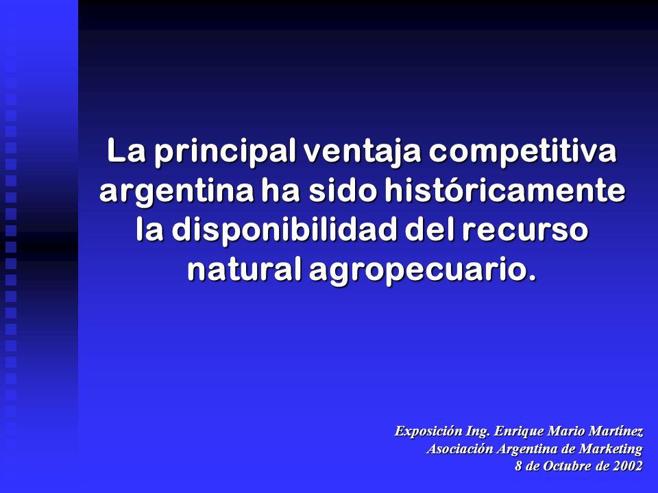 La principal ventaja competitiva argentina ha sido históricamente la disponibilidad del recurso natural agropecuario.