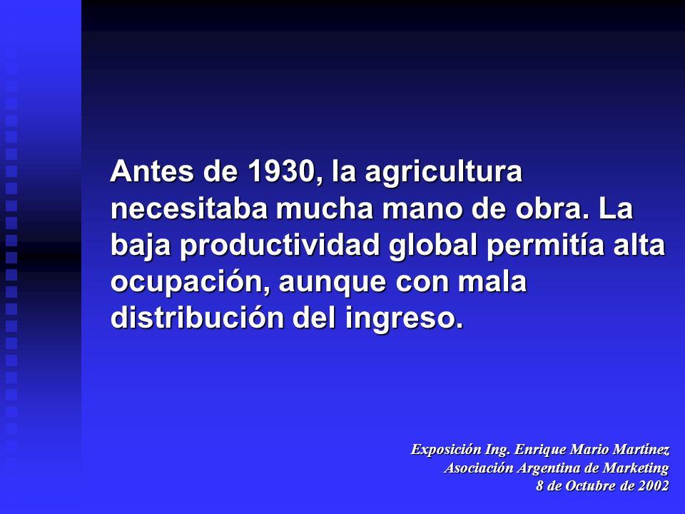 Antes de 1930, la agricultura necesitaba mucha mano de obra