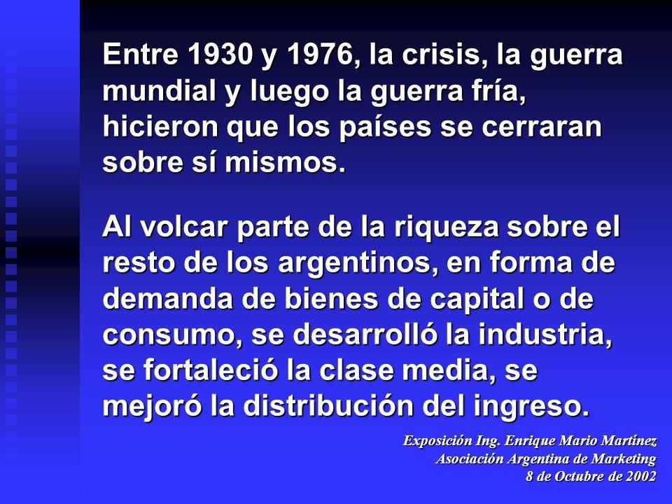 Entre 1930 y 1976, la crisis, la guerra mundial y luego la guerra fría, hicieron que los países se cerraran sobre sí mismos.