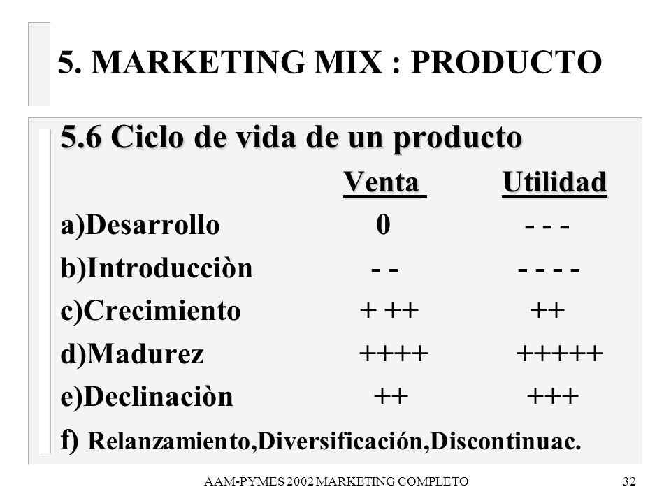 5. MARKETING MIX : PRODUCTO