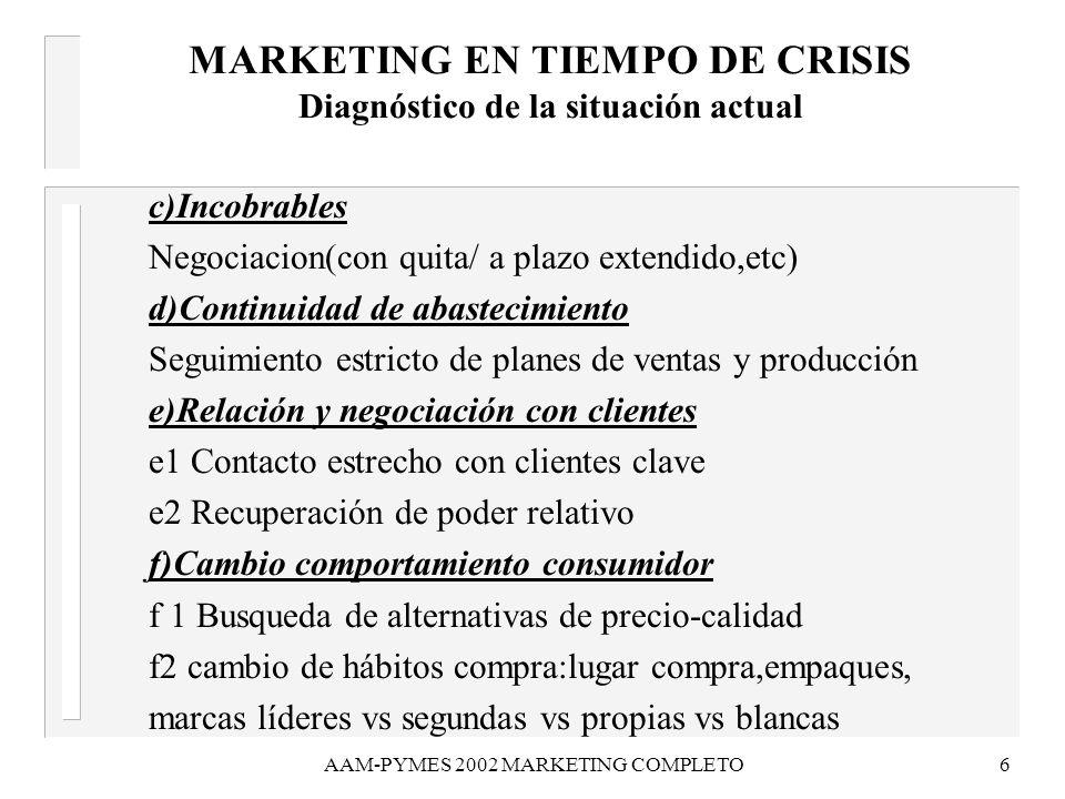 MARKETING EN TIEMPO DE CRISIS Diagnóstico de la situación actual