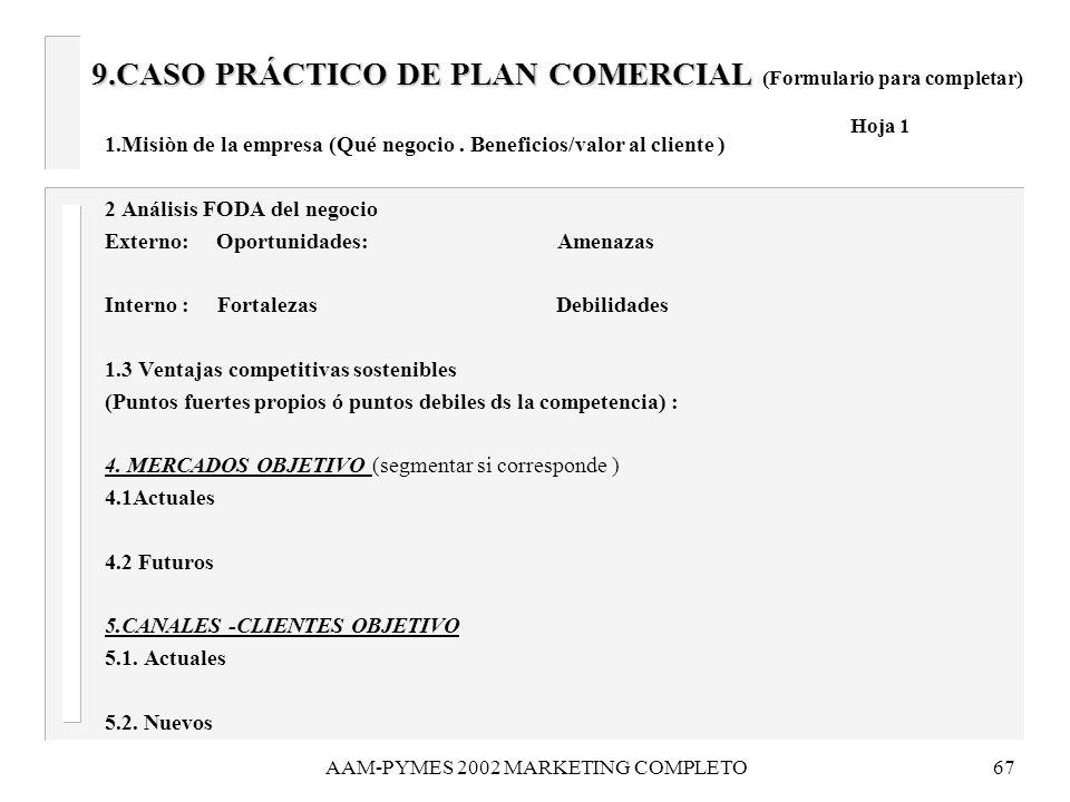 9.CASO PRÁCTICO DE PLAN COMERCIAL (Formulario para completar) Hoja 1