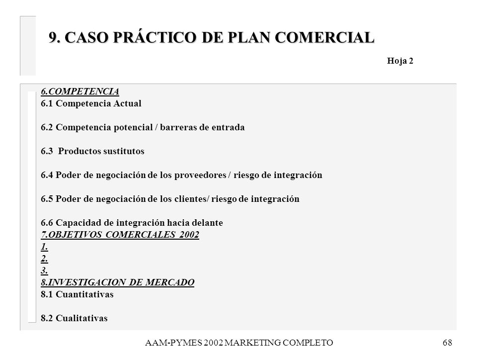 9. CASO PRÁCTICO DE PLAN COMERCIAL Hoja 2