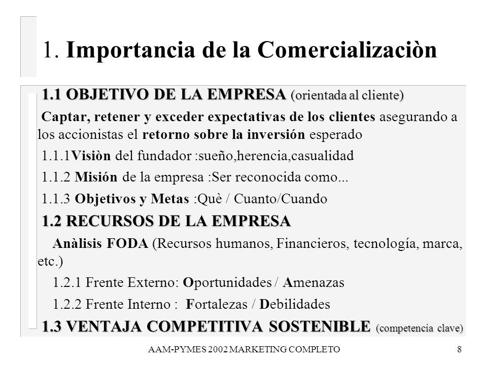 1. Importancia de la Comercializaciòn
