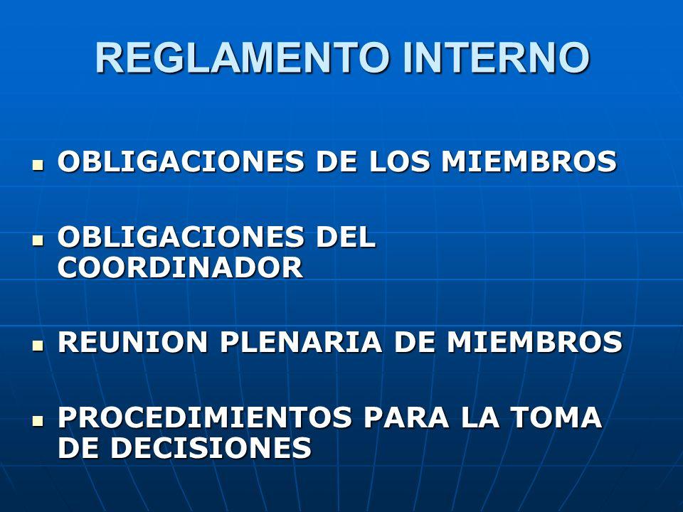 REGLAMENTO INTERNO OBLIGACIONES DE LOS MIEMBROS
