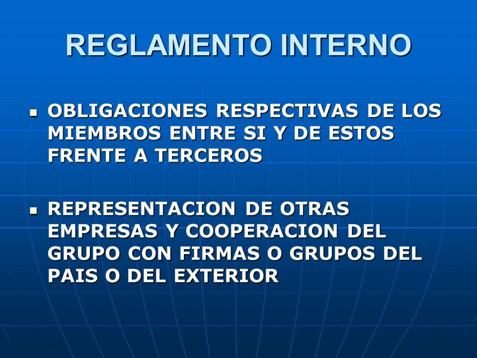 REGLAMENTO INTERNO OBLIGACIONES RESPECTIVAS DE LOS MIEMBROS ENTRE SI Y DE ESTOS FRENTE A TERCEROS.