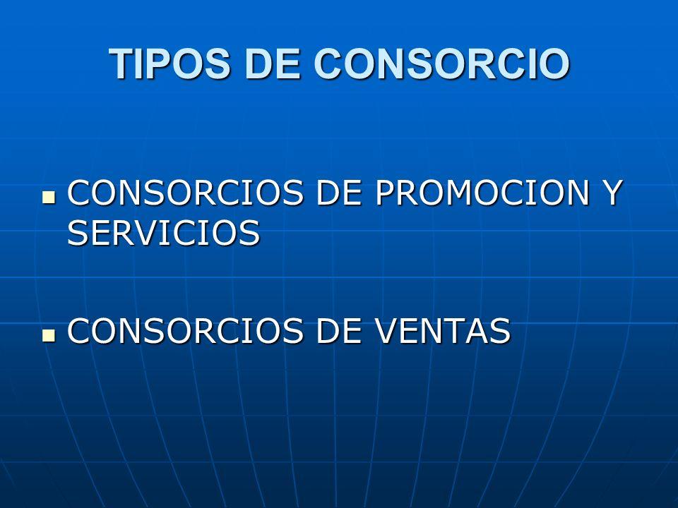 TIPOS DE CONSORCIO CONSORCIOS DE PROMOCION Y SERVICIOS