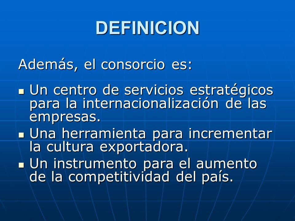 DEFINICION Además, el consorcio es: