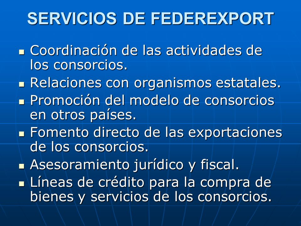 SERVICIOS DE FEDEREXPORT