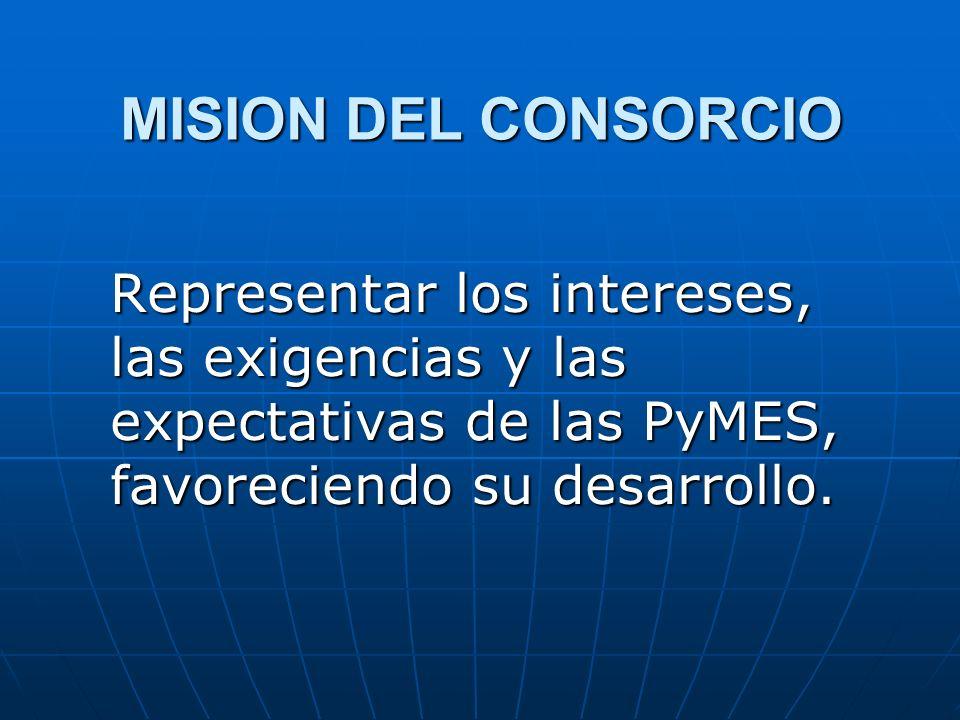 MISION DEL CONSORCIO Representar los intereses, las exigencias y las expectativas de las PyMES, favoreciendo su desarrollo.