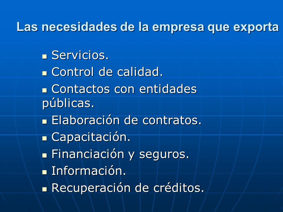 Las necesidades de la empresa que exporta