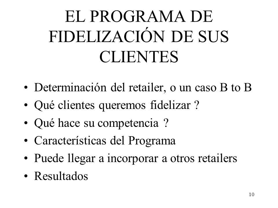 EL PROGRAMA DE FIDELIZACIÓN DE SUS CLIENTES