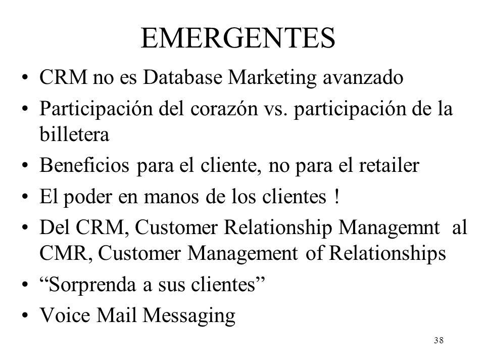 EMERGENTES CRM no es Database Marketing avanzado