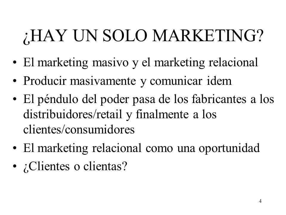 ¿HAY UN SOLO MARKETING El marketing masivo y el marketing relacional