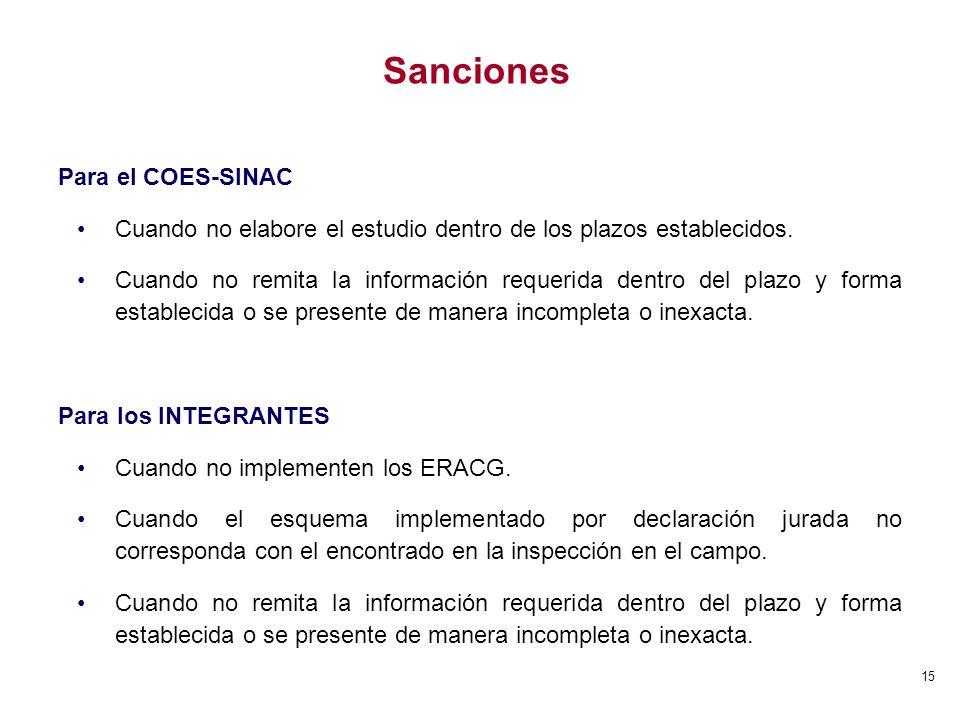 Sanciones Para el COES-SINAC