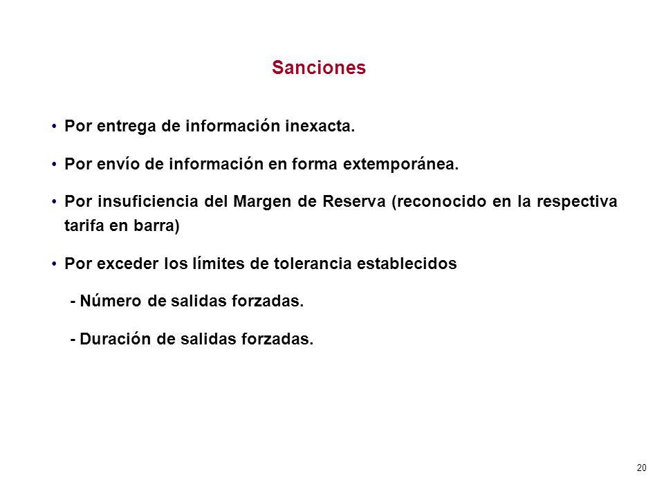 Sanciones Por entrega de información inexacta.