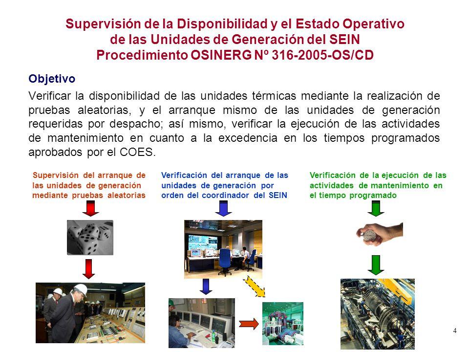 Supervisión de la Disponibilidad y el Estado Operativo de las Unidades de Generación del SEIN Procedimiento OSINERG Nº 316-2005-OS/CD