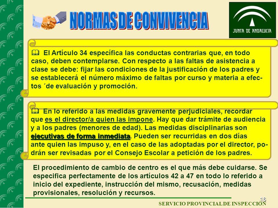NORMAS DE CONVIVENCIA  El Artículo 34 específica las conductas contrarias que, en todo.