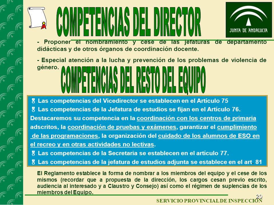 COMPETENCIAS DEL DIRECTOR COMPETENCIAS DEL RESTO DEL EQUIPO