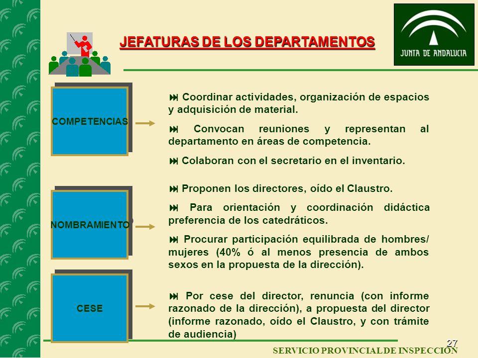 JEFATURAS DE LOS DEPARTAMENTOS