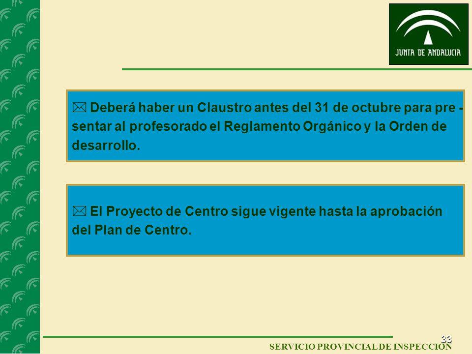  Deberá haber un Claustro antes del 31 de octubre para pre -