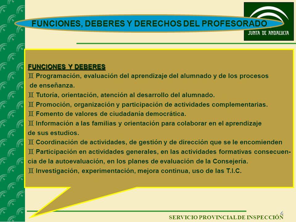 FUNCIONES, DEBERES Y DERECHOS DEL PROFESORADO