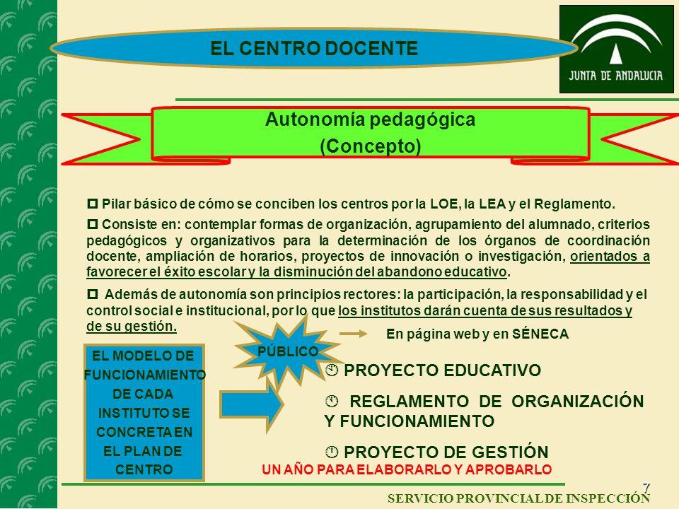 EL CENTRO DOCENTE Autonomía pedagógica (Concepto)