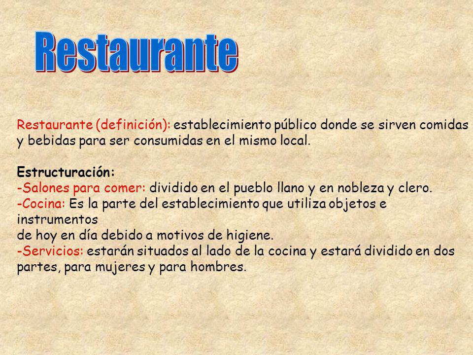 Restaurante Restaurante (definición): establecimiento público donde se sirven comidas. y bebidas para ser consumidas en el mismo local.