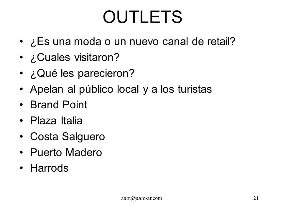 OUTLETS ¿Es una moda o un nuevo canal de retail ¿Cuales visitaron